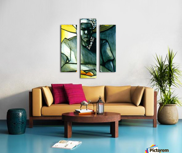 Woman with 2 mangoes Canvas print