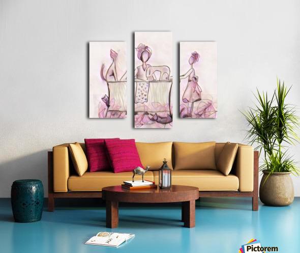 La couturière et ses chats Canvas print