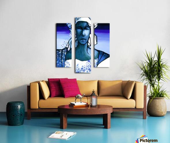 femme au turban bleu Canvas print