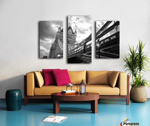 The Might of Tower Bridge Black and White Canvas print