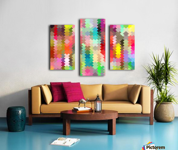 geometric square pixel pattern abstract in red blue green yellow Canvas print