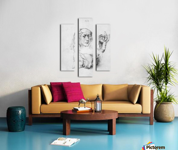 Study sheet with self-portrait, hand, and cushions Canvas print
