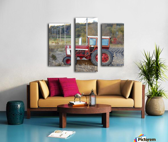 Tractor and Telephone Poles Canvas print