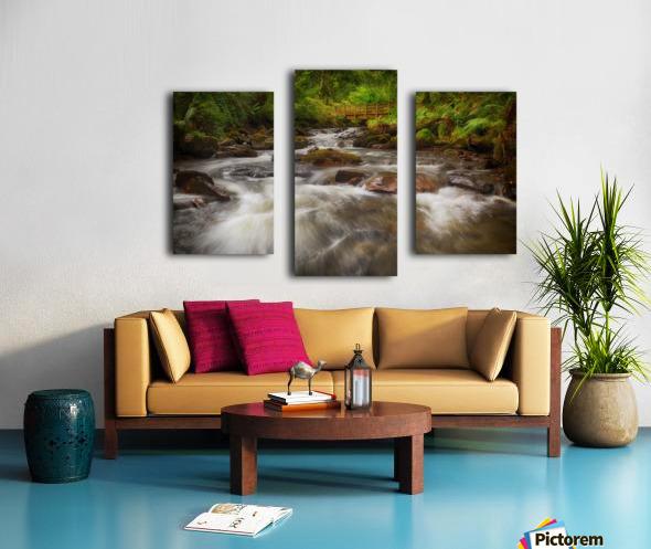The wooden bridge over the river Melin Canvas print