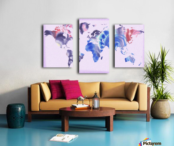 Watercolor Silhouette World Map Lilac Blue And Purple Canvas print