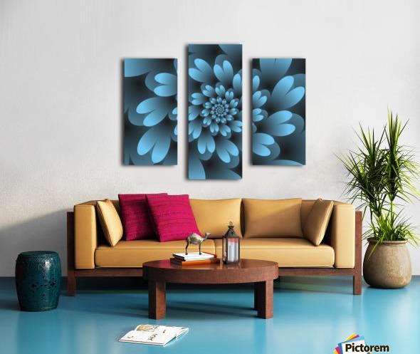 Blue Floral Satin Wallpaper Canvas print