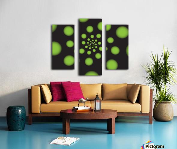 Green Spiral Dots Canvas print