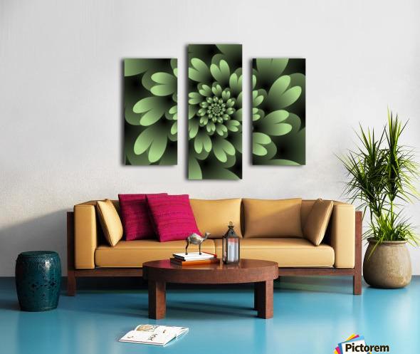 Green Floral Satin Wallpaper Canvas print