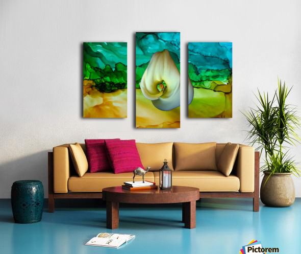 Alcohol Ink and Lily II Canvas print
