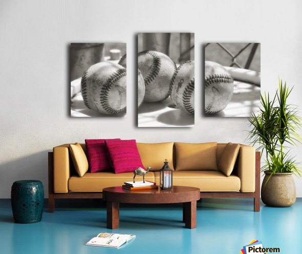 3 Baseballs on a Bucket in Sepia Canvas print