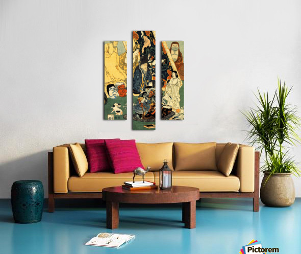 Sculptor Jingoro surrounded by statues Canvas print