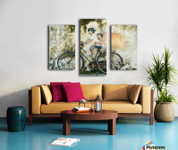 Kid And His Sister On A  Bicycle  Painting   Canvas print