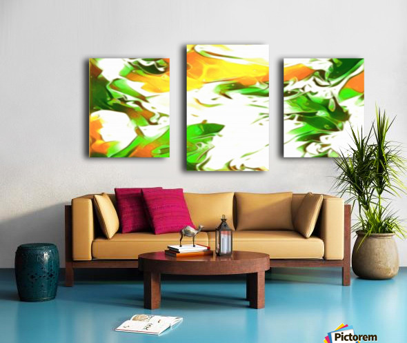 Legendary - green gold and white abstract swirls wall art Canvas print