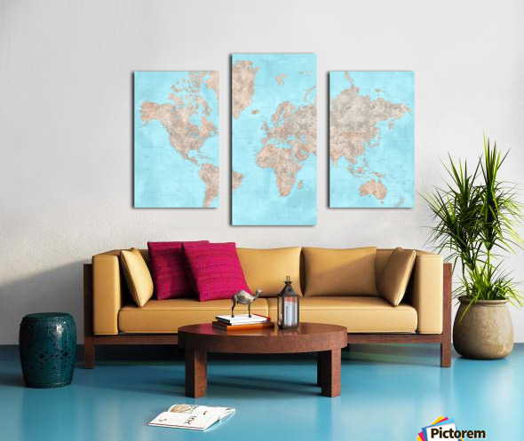 highly detailed watercolor world map in neutrals and light blue Canvas print