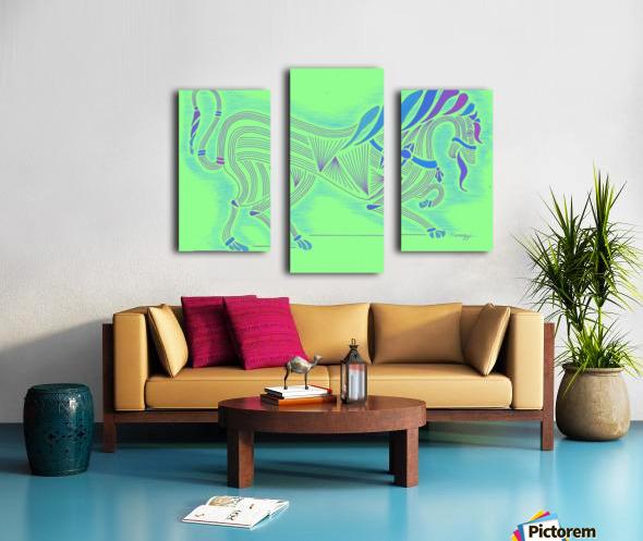 RARIN' TO GO--Blue on Green Canvas print