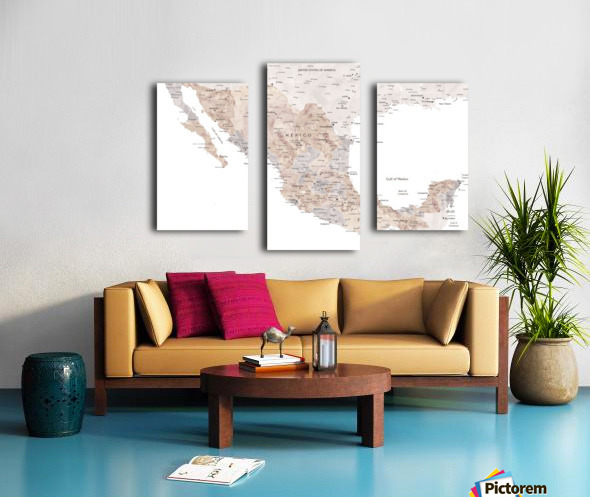 Detailed map of Mexico in neutral watercolor Canvas print