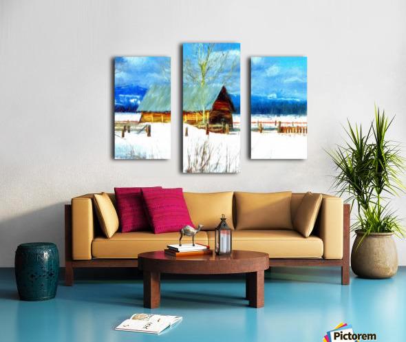 Winter Homestead Watercolor  Canvas print