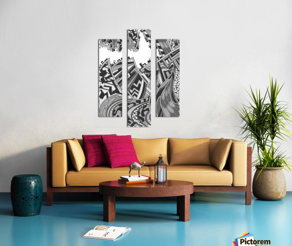 Wandering Abstract Line Art 01: Grayscale Canvas print