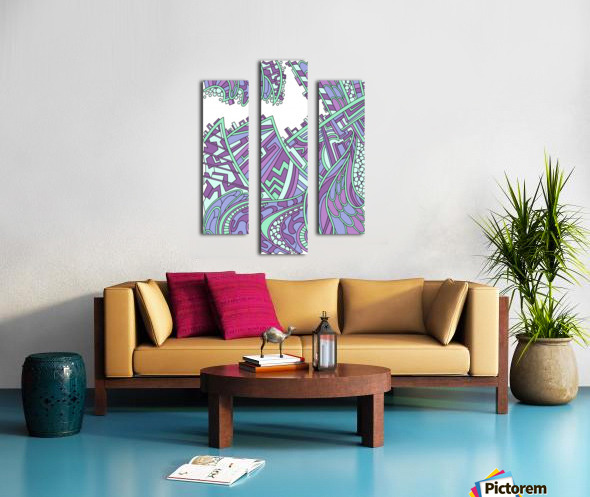Wandering Abstract Line Art 01: Purple Canvas print