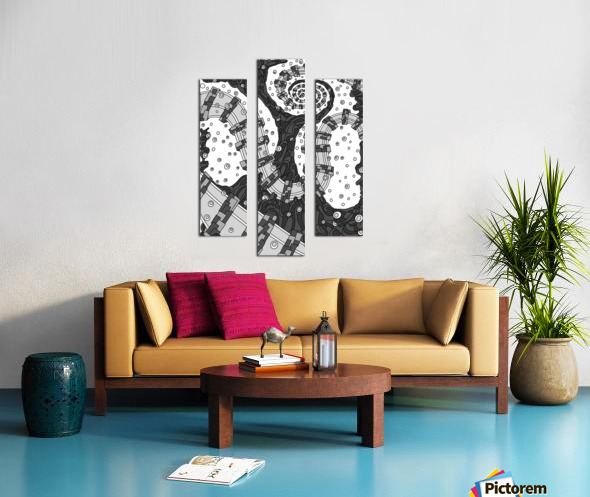 Wandering Abstract Line Art 02: Grayscale Canvas print