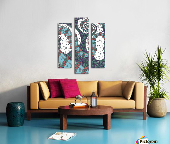 Wandering Abstract Line Art 02: Blue Canvas print