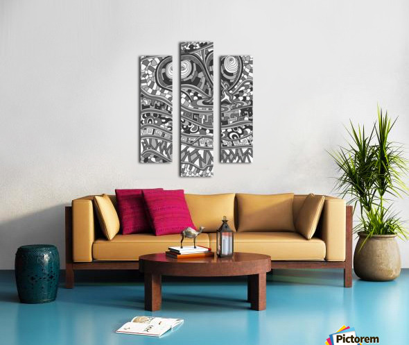 Wandering Abstract Line Art 03: Grayscale Canvas print