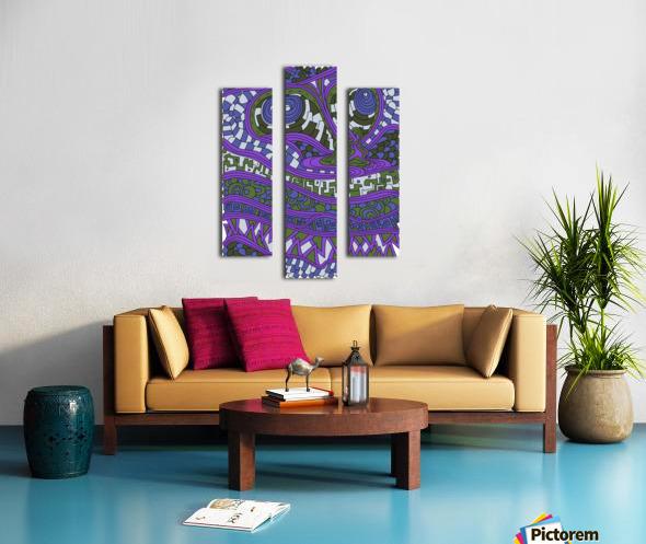 Wandering Abstract Line Art 03: Purple Canvas print