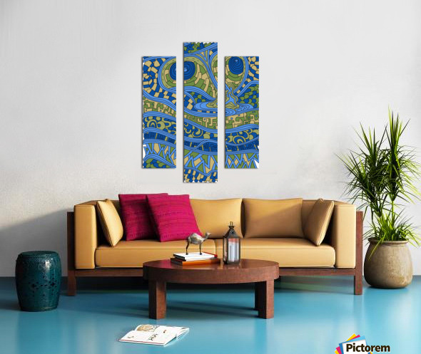 Wandering Abstract Line Art 03: Blue Canvas print