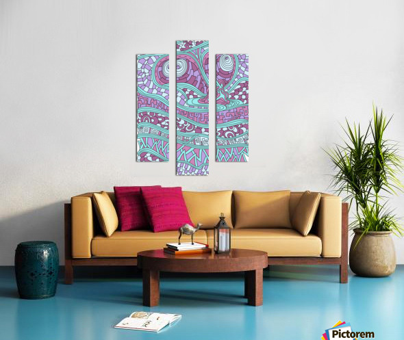 Wandering Abstract Line Art 03: Pink Canvas print
