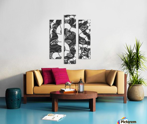 Wandering Abstract Line Art 04: Grayscale Canvas print
