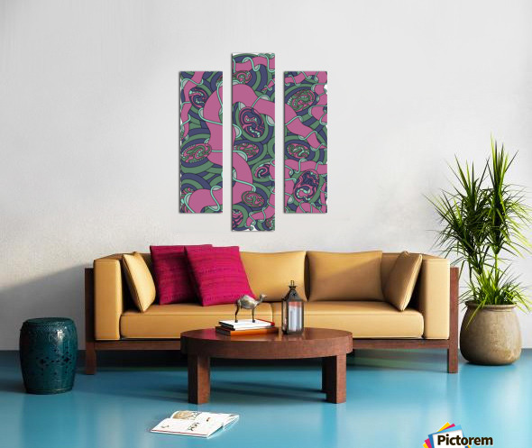 Wandering Abstract Line Art 04: Pink Canvas print