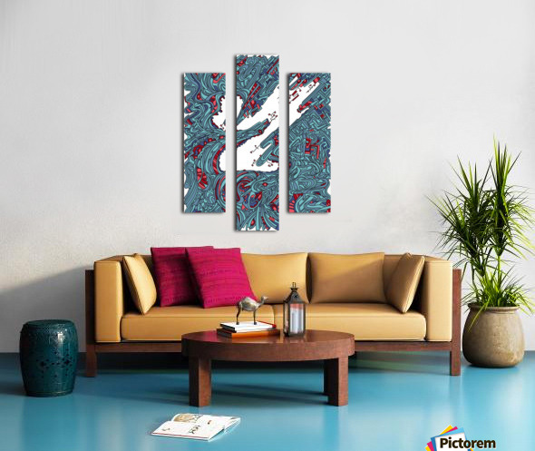 Wandering Abstract Line Art 05: Blue Canvas print