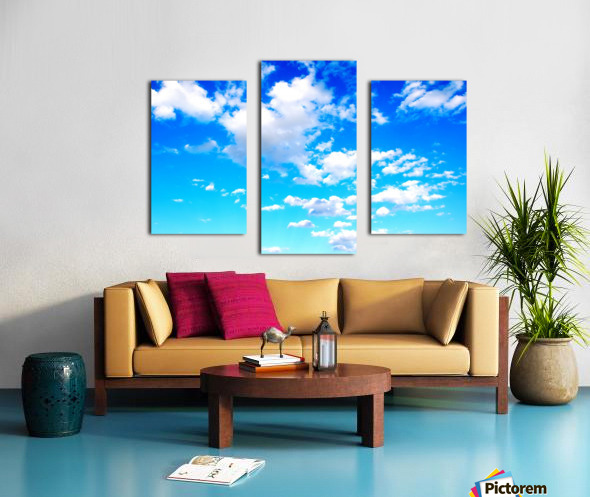 Bright Sky Blue with Clouds Colorful Scenic Background Canvas print