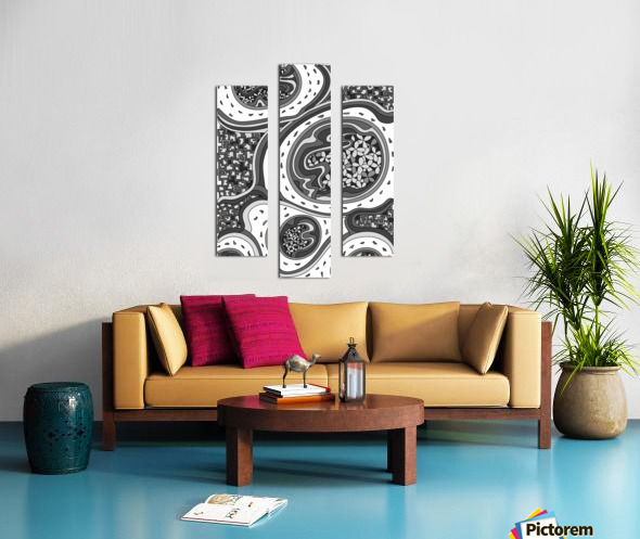 Wandering Abstract Line Art 06: Grayscale Canvas print
