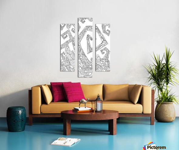 Wandering Abstract Line Art 08: Black & White Canvas print