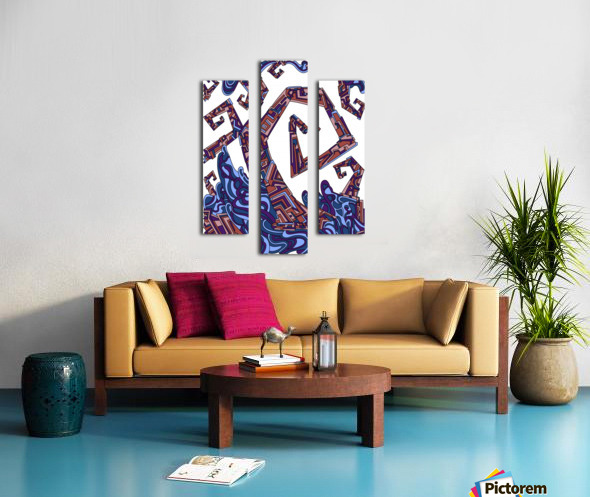 Wandering Abstract Line Art 08: Purple Canvas print