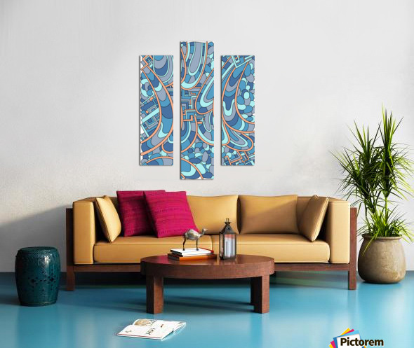 Wandering Abstract Line Art 09: Blue Canvas print