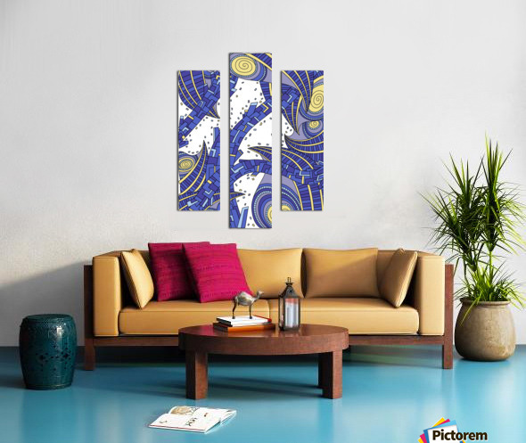 Wandering Abstract Line Art 10: Sapphire Canvas print
