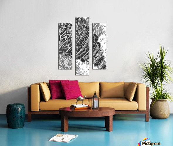 Wandering Abstract Line Art 11: Grayscale Canvas print