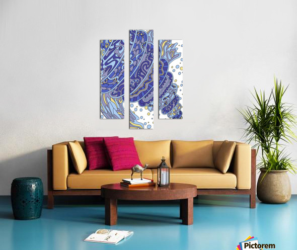 Wandering Abstract Line Art 11: Blue Canvas print