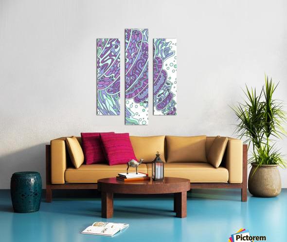 Wandering Abstract Line Art 11: Purple Canvas print