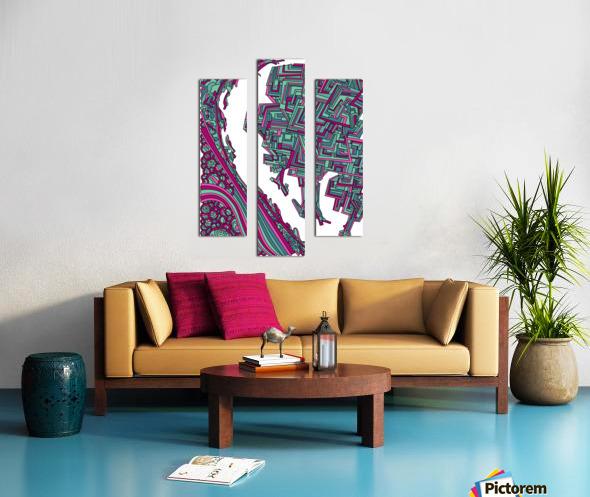 Wandering Abstract Line Art 12: Magenta Canvas print