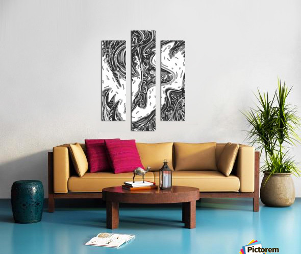 Wandering Abstract Line Art 14: Grayscale Canvas print