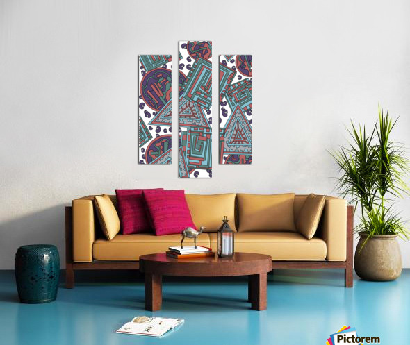Wandering Abstract Line Art 15: Blue Canvas print