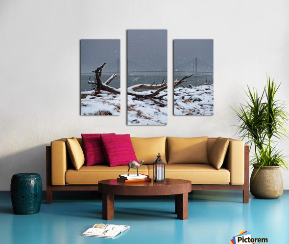 Indian River Bridge with Driftwood and Snow Canvas print