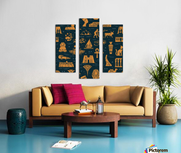 dark seamless pattern symbols landmarks signs egypt Canvas print