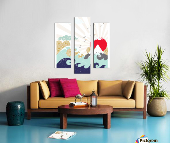 mountain sun japanese illustration Canvas print