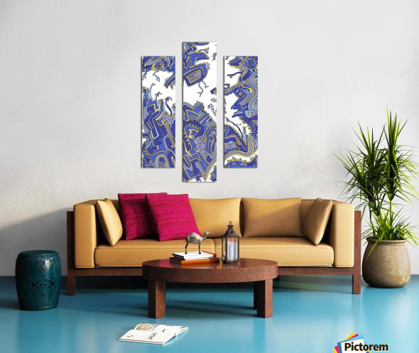 Wandering Abstract Line Art 34: Blue Canvas print