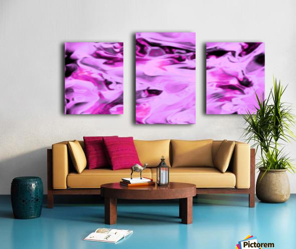 Pink Flamingo - pink grey black abstract swirl abstract wall art Canvas print