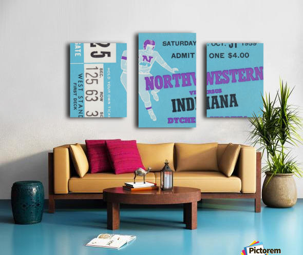 1959_College_Football_Northwestern vs. Indiana_Dyche Stadium_Row One Brand Tickets Canvas print